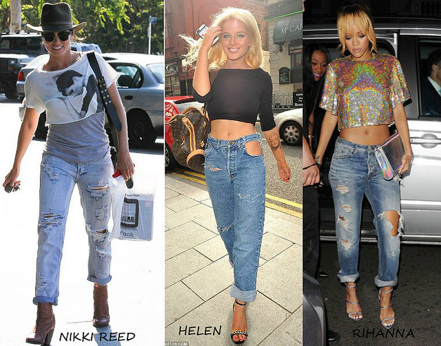 Celebs sporting the ripped jeans and cropped top look