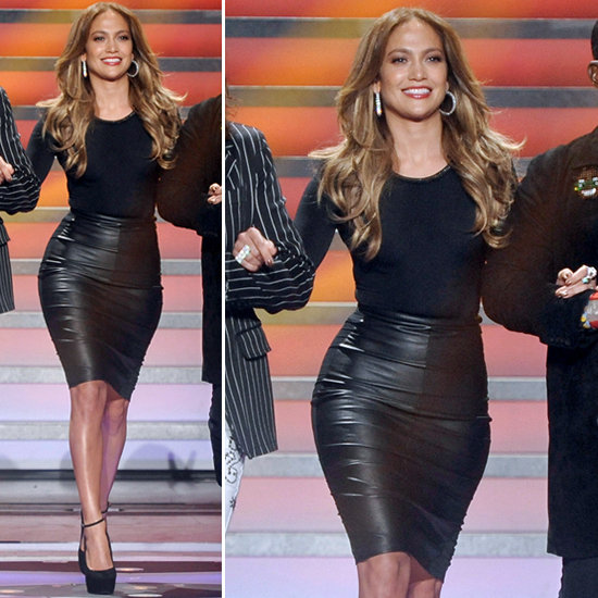 J Lo rocking a leather pencil skirt!