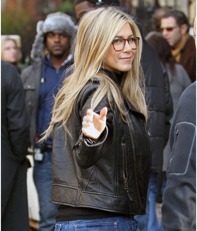 Jennifer Aniston Adds A Leather Jacket To Ger Geek Chic Style