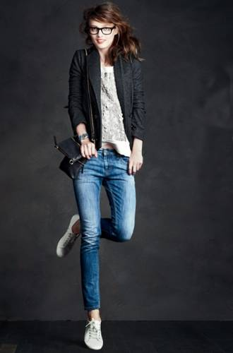 Pair A Well-Cut Jacket And Pretty Blouse With Jeans