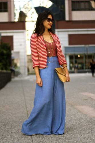 Pairing Palazzo pants with a bright tank and a chic blaze