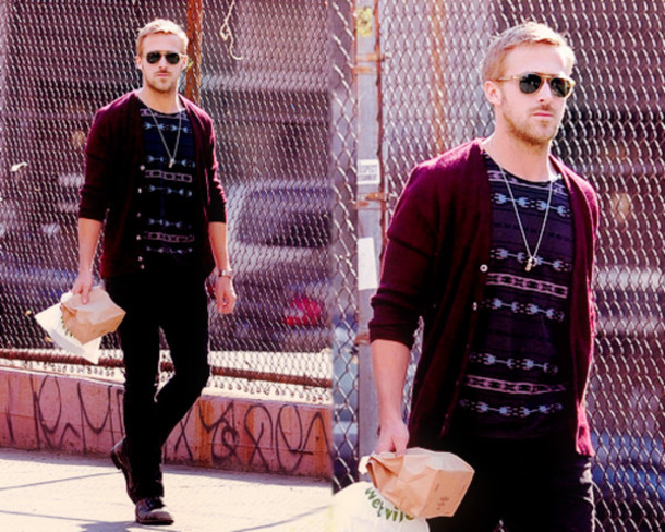 We couldn't help but put Ryan Gosling's picture here – he is getting his cardigan mode on so well!
