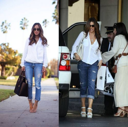 White Shirt and Distressed Jeans
