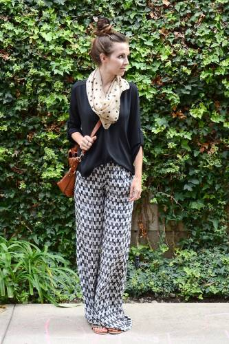full sleeved top, scarf and palazzo pants