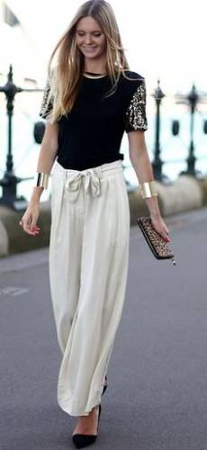 sequinned top with palazzo pants