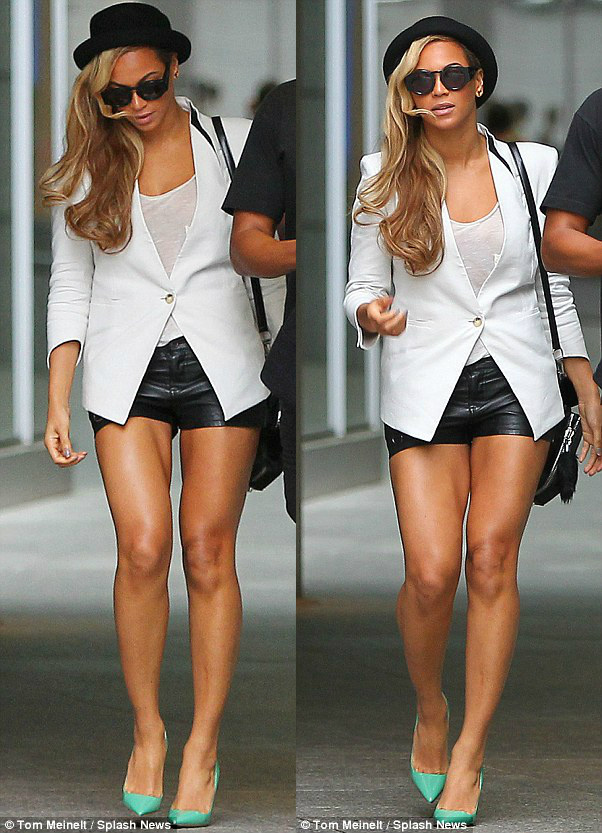 Beyonce in shorts and a blazer