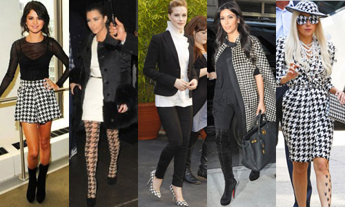 Celebrities sporting the currently trending Houndstooth print. Try a Houndstooth scarf with your LBD