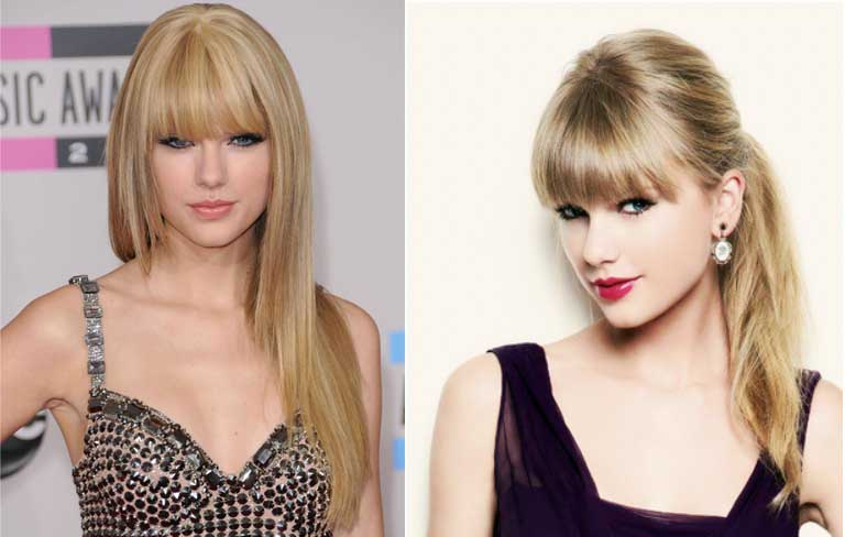Taylor Swift swiftly pulls of blunt bangs!